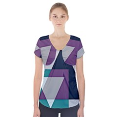 Geodesic Triangle Square Short Sleeve Front Detail Top