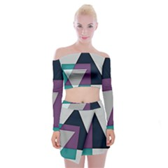 Geodesic Triangle Square Off Shoulder Top with Skirt Set