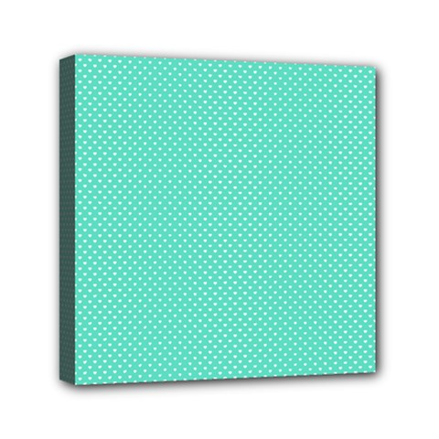 White Polkadot Hearts on Tiffany Aqua Blue  Mini Canvas 6  x 6