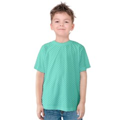White Polkadot Hearts on Tiffany Aqua Blue  Kids  Cotton Tee