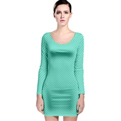 White Polkadot Hearts on Tiffany Aqua Blue  Long Sleeve Bodycon Dress
