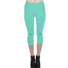 White Polkadot Hearts on Tiffany Aqua Blue  Capri Leggings