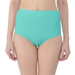 White Polkadot Hearts on Tiffany Aqua Blue  High-Waist Bikini Bottoms