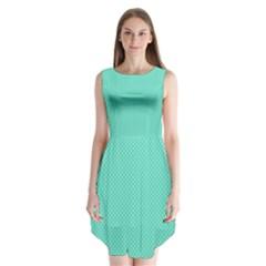 White Polkadot Hearts on Tiffany Aqua Blue  Sleeveless Chiffon Dress