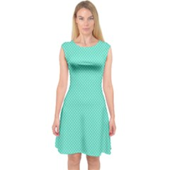 White Polkadot Hearts on Tiffany Aqua Blue  Capsleeve Midi Dress