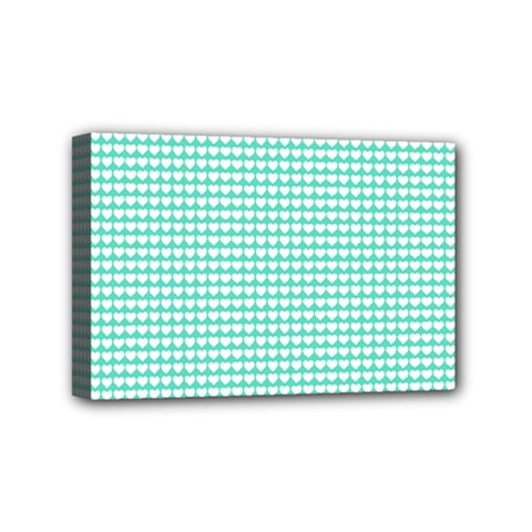 Solid White Hearts on Pale Tiffany Aqua Blue Mini Canvas 6  x 4