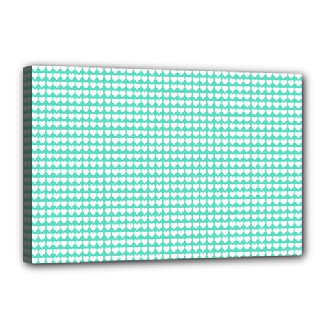 Solid White Hearts on Pale Tiffany Aqua Blue Canvas 18  x 12
