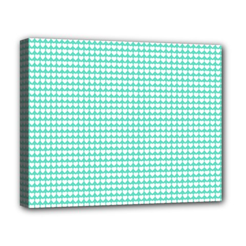 Solid White Hearts on Pale Tiffany Aqua Blue Deluxe Canvas 20  x 16