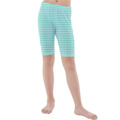 Solid White Hearts on Pale Tiffany Aqua Blue Kids  Mid Length Swim Shorts
