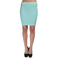Solid White Hearts on Pale Tiffany Aqua Blue Bodycon Skirt