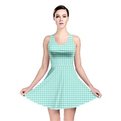Solid White Hearts on Pale Tiffany Aqua Blue Reversible Skater Dress