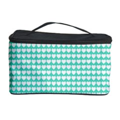 Solid White Hearts on Pale Tiffany Aqua Blue Cosmetic Storage Case