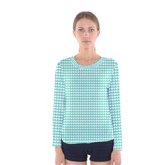 Solid White Hearts On Pale Tiffany Aqua Blue Women s Long Sleeve Tee