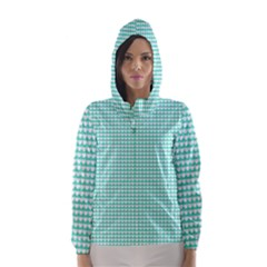 Solid White Hearts on Pale Tiffany Aqua Blue Hooded Wind Breaker (Women)