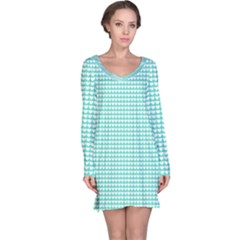 Solid White Hearts on Pale Tiffany Aqua Blue Long Sleeve Nightdress