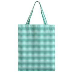 Solid White Hearts on Pale Tiffany Aqua Blue Zipper Classic Tote Bag