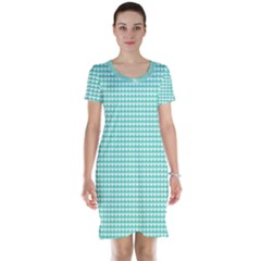 Solid White Hearts on Pale Tiffany Aqua Blue Short Sleeve Nightdress