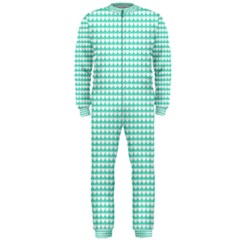 Solid White Hearts on Pale Tiffany Aqua Blue OnePiece Jumpsuit (Men)