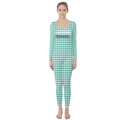 Solid White Hearts on Pale Tiffany Aqua Blue Long Sleeve Catsuit