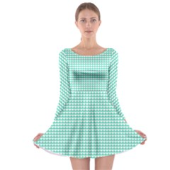 Solid White Hearts on Pale Tiffany Aqua Blue Long Sleeve Skater Dress