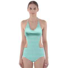 Solid White Hearts on Pale Tiffany Aqua Blue Cut-Out One Piece Swimsuit