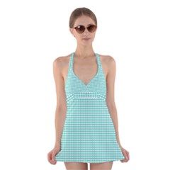 Solid White Hearts on Pale Tiffany Aqua Blue Halter Swimsuit Dress