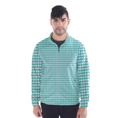 Solid White Hearts on Pale Tiffany Aqua Blue Wind Breaker (Men)