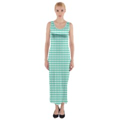 Solid White Hearts on Pale Tiffany Aqua Blue Fitted Maxi Dress