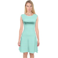 Solid White Hearts on Pale Tiffany Aqua Blue Capsleeve Midi Dress