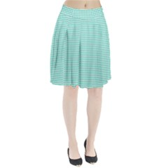 Solid White Hearts on Pale Tiffany Aqua Blue Pleated Skirt