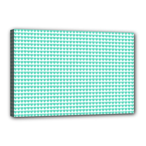 Tiffany Aqua Blue Candy Hearts on White Canvas 18  x 12