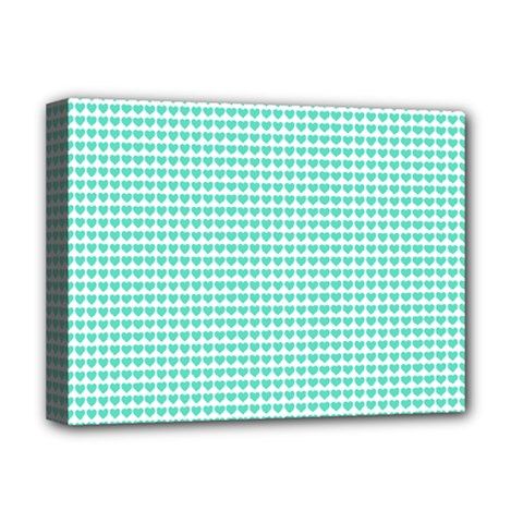 Tiffany Aqua Blue Candy Hearts on White Deluxe Canvas 16  x 12