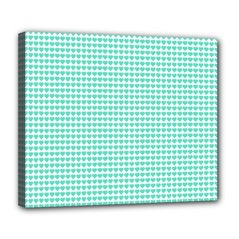 Tiffany Aqua Blue Candy Hearts on White Deluxe Canvas 24  x 20