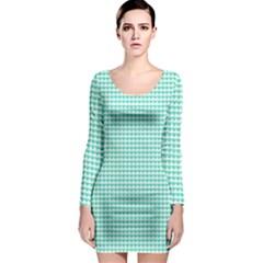 Tiffany Aqua Blue Candy Hearts on White Long Sleeve Bodycon Dress
