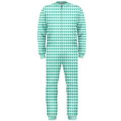 Tiffany Aqua Blue Candy Hearts on White OnePiece Jumpsuit (Men)