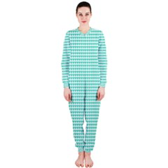 Tiffany Aqua Blue Candy Hearts on White OnePiece Jumpsuit (Ladies)