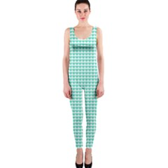 Tiffany Aqua Blue Candy Hearts on White OnePiece Catsuit