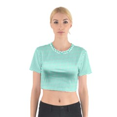 Tiffany Aqua Blue Candy Hearts on White Cotton Crop Top