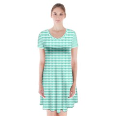 Tiffany Aqua Blue Candy Hearts on White Short Sleeve V-neck Flare Dress