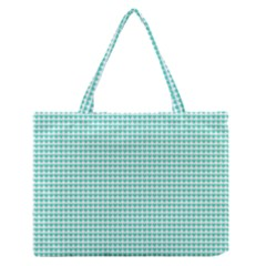 Tiffany Aqua Blue Candy Hearts on White Medium Zipper Tote Bag
