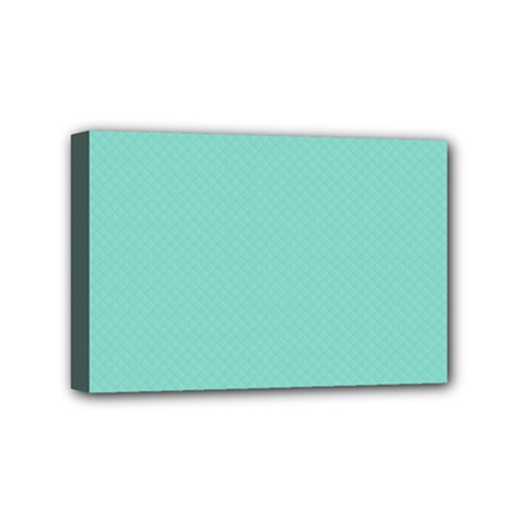 Tiffany Aqua Blue Puffy Quilted Pattern Mini Canvas 6  x 4