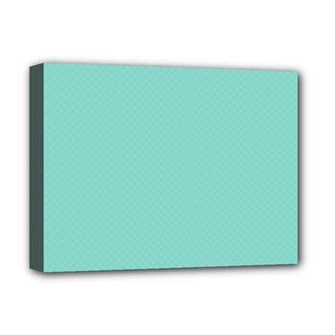Tiffany Aqua Blue Puffy Quilted Pattern Deluxe Canvas 16  x 12