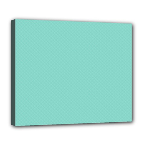 Tiffany Aqua Blue Puffy Quilted Pattern Deluxe Canvas 24  x 20