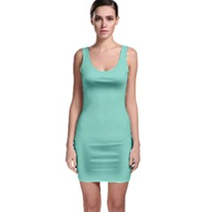 Tiffany Aqua Blue Puffy Quilted Pattern Sleeveless Bodycon Dress