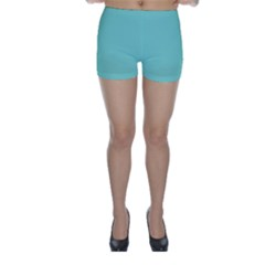 Tiffany Aqua Blue Puffy Quilted Pattern Skinny Shorts