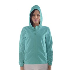 Tiffany Aqua Blue Puffy Quilted Pattern Hooded Wind Breaker (Women)