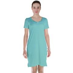 Tiffany Aqua Blue Puffy Quilted Pattern Short Sleeve Nightdress