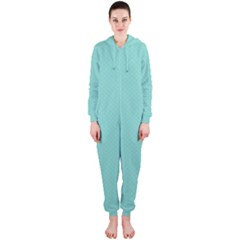 Tiffany Aqua Blue Puffy Quilted Pattern Hooded Jumpsuit (Ladies)