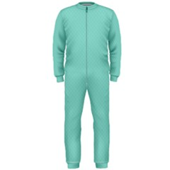 Tiffany Aqua Blue Puffy Quilted Pattern OnePiece Jumpsuit (Men)