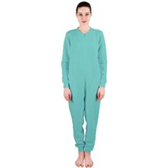 Tiffany Aqua Blue Puffy Quilted Pattern OnePiece Jumpsuit (Ladies)